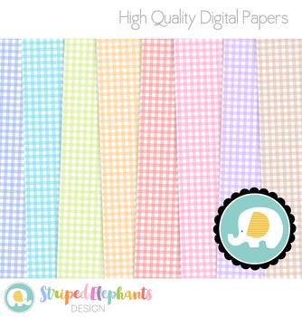 Pastel Gingham Digital Papers