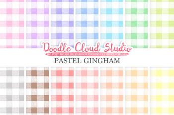Pastel Gingham digital paper, Gingham pattern, Digital Gingham, pastel colors