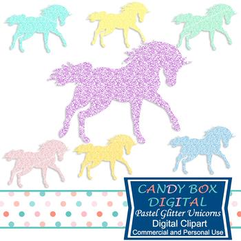 Pastel Glitter Unicorn Clip Art - Commercial Use OK