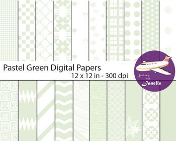 Pastel Green Digital Papers for Backgrounds, Scrapbooking,