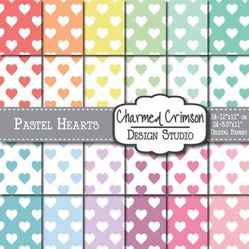 Pastel Hearts Digital Paper 1428