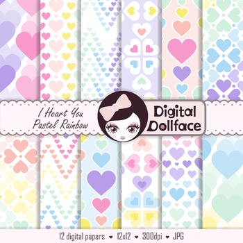 Pastel Hearts Digital Papers / Rainbow Backgrounds