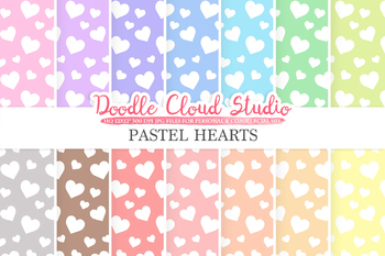 Pastel Hearts digital paper, Hearts patterns, Digital Hearts, pastel colors .