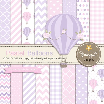 Pastel Hot Air Balloon digital paper and clipart