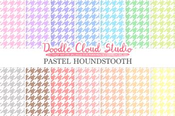 Pastel Houndstooth digital paper, Houndstooth patterns, Digital Houndstooth