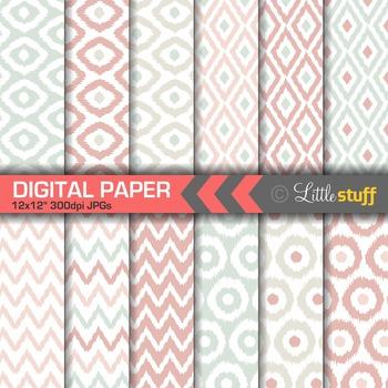 Pastel Ikat Digital Paper Pack