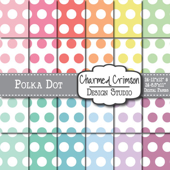 Pastel Large Polka Dots Digital Paper 1152