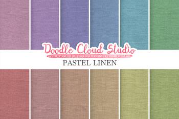 Pastel Linen Fabric digital paper pack, pastel colors Backgrounds, linen, burlap