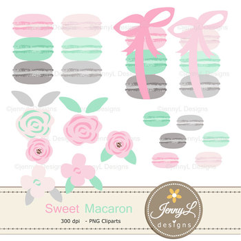 Pastel Macaron digital paper and clipart