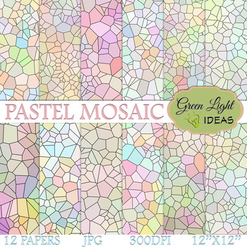 Pastel Mosaic Digital Papers / Stained Glass Backgrounds
