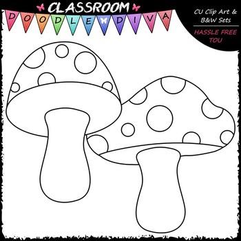 Pastel Mushrooms Clip Art & B&W Set