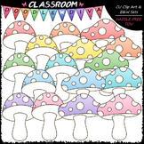 Pastel Mushrooms Clip Art & B&W Set