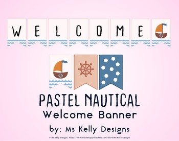 Pink and Blue Pastel Nautical Welcome Banner for Classroom