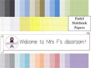 Pastel Notebook Papers