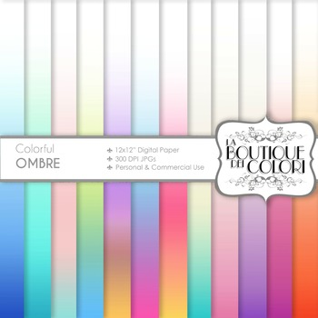 Pastel Ombre Digital Paper, scrapbook backgrounds