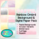Pastel Ombré Watercolor Background Border Frame | Digital Paper | (Boarder)