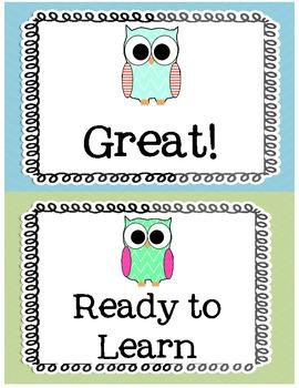 Pastel Owl Behavior Clip Chart