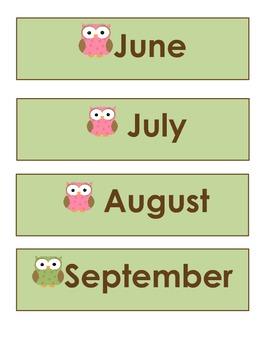 Pastel Owl Calendar Pack