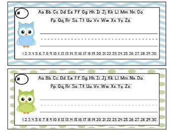 Pastel Owl Nameplates