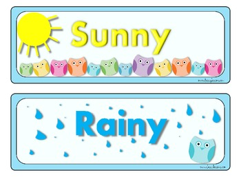 Pastel Owl Weather Chart Signs