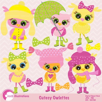 Clipart, Pastel Baby Owls Clipart AMB-166