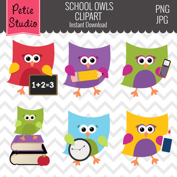 Back to School Clipart with Owls and School Supplies