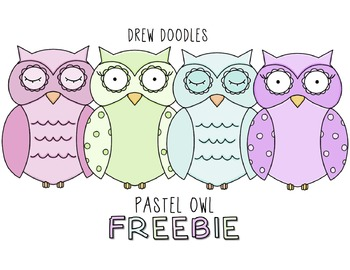 Pastel Owls Digital Clip Art FREEBIE