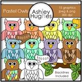 Pastel Owls Clipart {A Hughes Design}