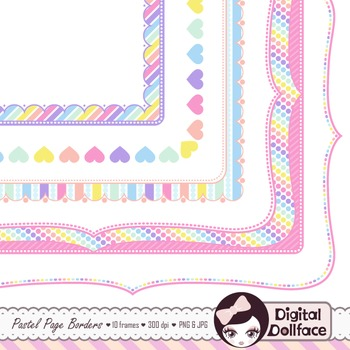 Pastel Page Frames Rainbow Border Clipart By Digital Dollface Tpt