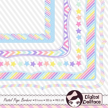Pastel Page Frames / Rainbow Border Clipart