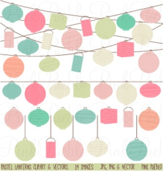 Pastel Paper Hanging Lantern Clipart Clip Art - Commercial and Personal Use