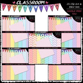 Pastel Papers Bundle (5 Sets) - 80 CU 8.5x11 Digital Papers