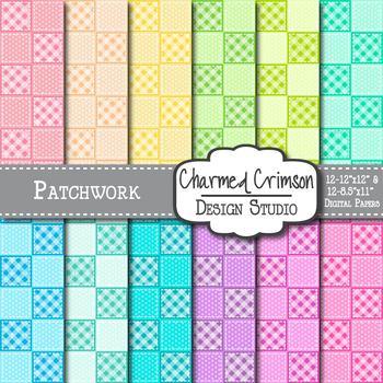 Pastel Patchwork Digital Paper 1091