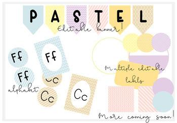 Pastel Patterned Classroom Decor-EDITABLE