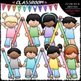 Pastel Pencil Kids Clip Art - Kids With Pencils Clip Art & B&W Set