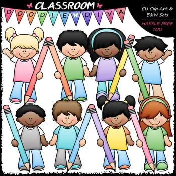 Pastel Pencil Kids Clip Art - Kids With Pencils Clip Art & B&W Set
