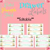 Pastel Pineapple Floral Drawer Labels (EDITABLE)