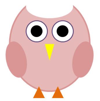 Pastel Pink Owl Clip Art