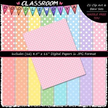 Pastel Polka Dots 1 - 16 CU 8.5x11 Digital Papers