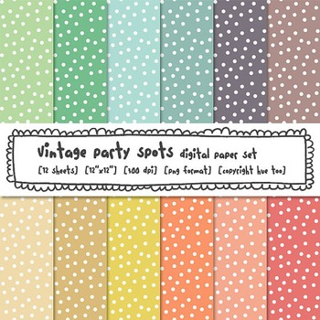 Pastel Polka Dots Digital Paper, Pink, Blue, Yellow, Green, for TpT Sellers