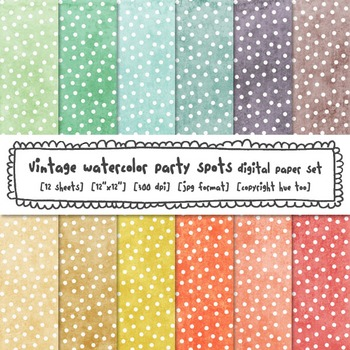 Pastel Polka Dots Watercolor Digital Paper Set, Textured Watercolor Backgrounds