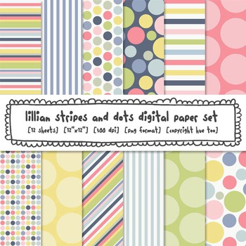 Pastel Polka Dots and Stripes Digital Backgrounds, Pink, Blue, Yellow, Green