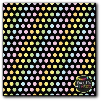 Pastel Polka Dots on Black Digital Papers {Commercial Use Digital Graphics}