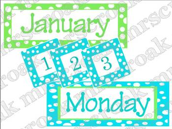 Calendar Kit: Lime & Turquoise Polka Dots