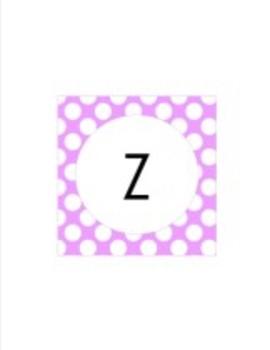 Pastel Purple Polka Dot Collection Classroom Decor