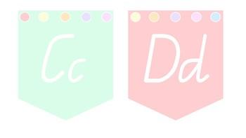 Pastel QLD Font Alphabet Bunting A-S Bundle 1
