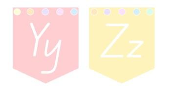 Pastel QLD Font Alphabet Bunting T-Z Bundle 2