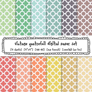 Pastel Quatrefoil Digital Paper Set, Trellis Digital Backgrounds