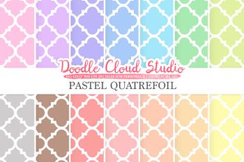 Pastel Quatrefoil digital paper, Quatrefoil patterns, Digital Quatrefoil