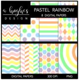 12x12 Digital Paper Set: Pastel Rainbow {A Hughes Design}